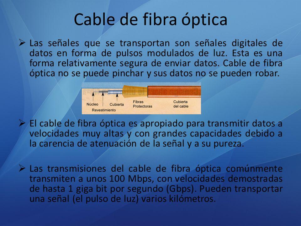 Cable de fibra óptica Las señales que se transportan son señales digitales de datos en forma de pulsos modulados de luz. Esta es una forma relativamen