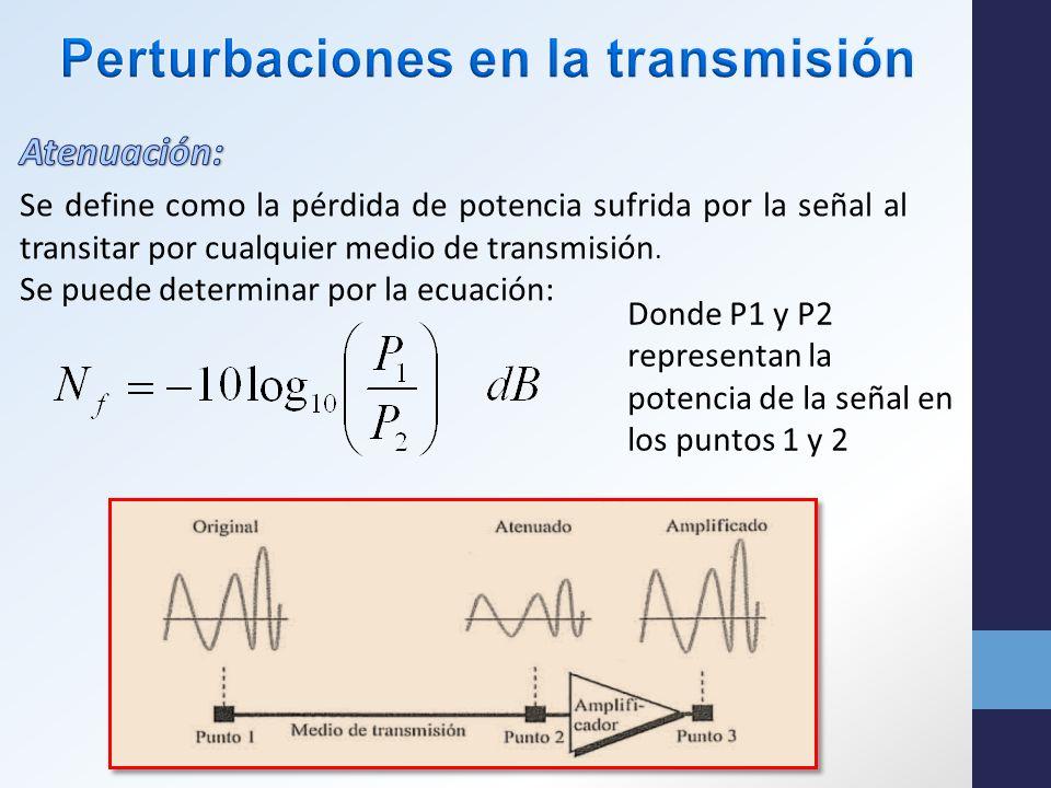 Donde P1 y P2 representan la potencia de la señal en los puntos 1 y 2