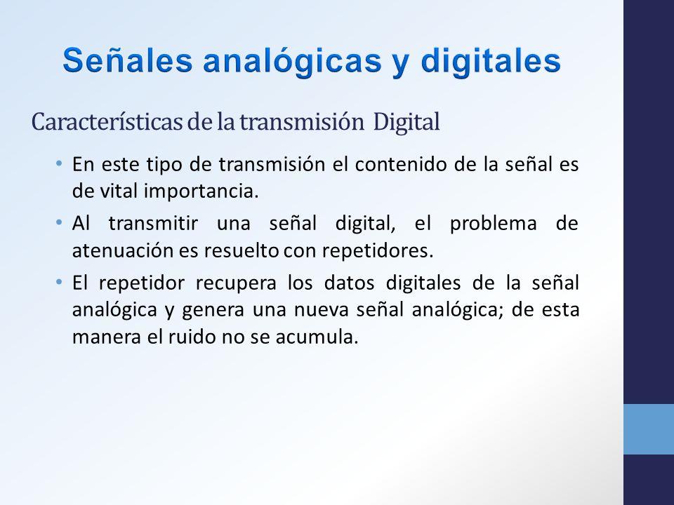 Características de la transmisión Digital En este tipo de transmisión el contenido de la señal es de vital importancia.