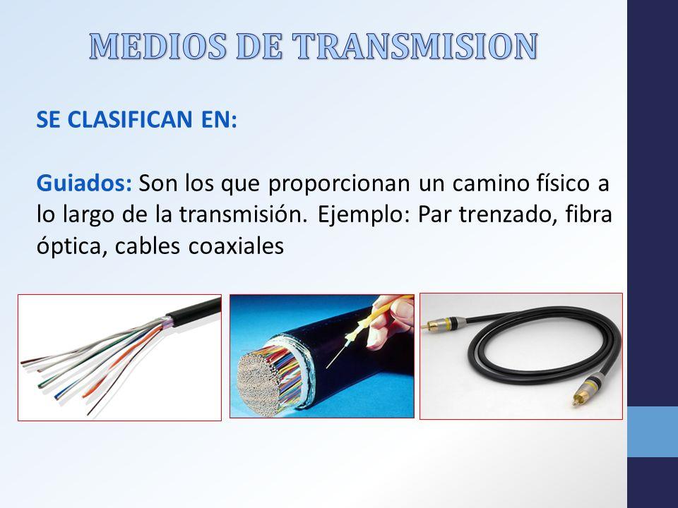 SE CLASIFICAN EN: Guiados: Son los que proporcionan un camino físico a lo largo de la transmisión.