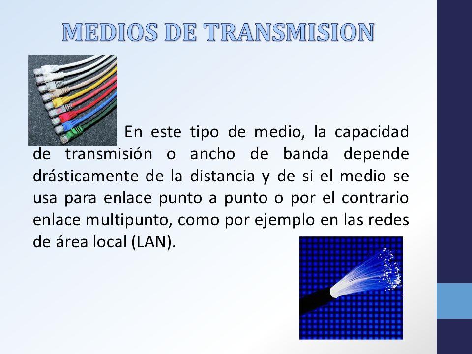 En este tipo de medio, la capacidad de transmisión o ancho de banda depende drásticamente de la distancia y de si el medio se usa para enlace punto a punto o por el contrario enlace multipunto, como por ejemplo en las redes de área local (LAN).