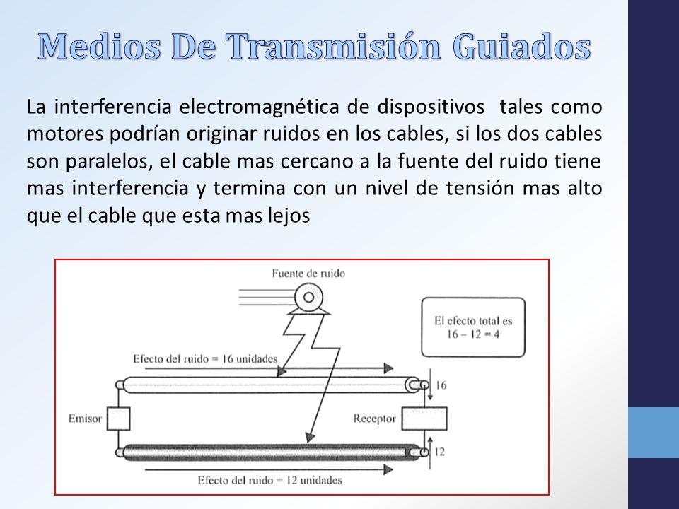 La interferencia electromagnética de dispositivos tales como motores podrían originar ruidos en los cables, si los dos cables son paralelos, el cable mas cercano a la fuente del ruido tiene mas interferencia y termina con un nivel de tensión mas alto que el cable que esta mas lejos
