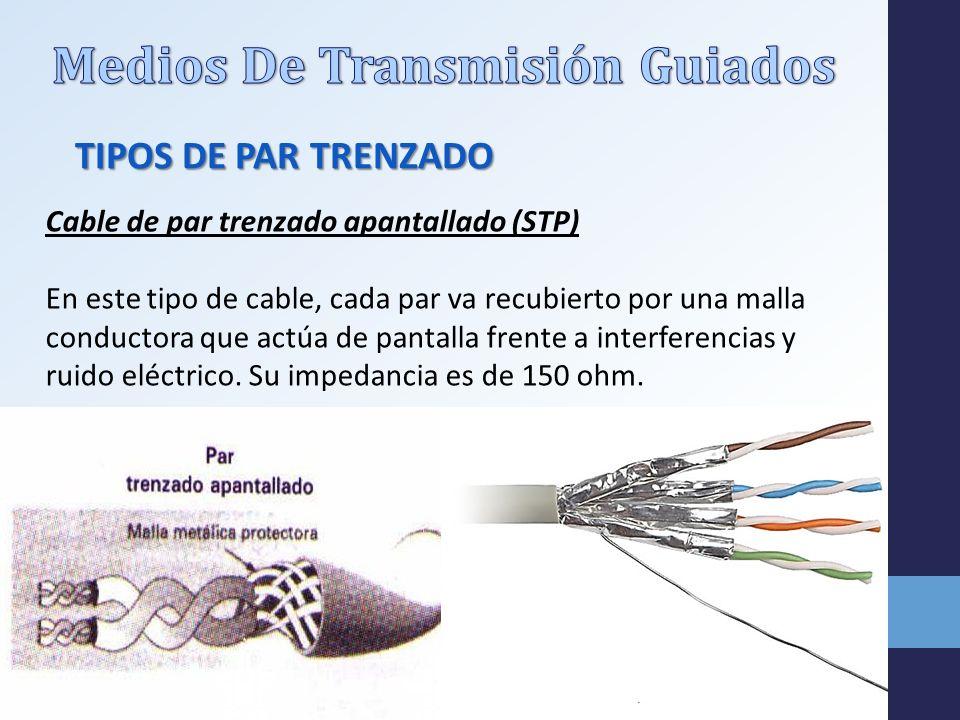 TIPOS DE PAR TRENZADO Cable de par trenzado apantallado (STP) En este tipo de cable, cada par va recubierto por una malla conductora que actúa de pantalla frente a interferencias y ruido eléctrico.