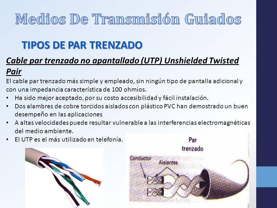 Cable par trenzado no apantallado (UTP) Unshielded Twisted Pair El cable par trenzado más simple y empleado, sin ningún tipo de pantalla adicional y con una impedancia característica de 100 ohmios.