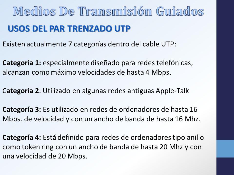 Existen actualmente 7 categorías dentro del cable UTP: Categoría 1: especialmente diseñado para redes telefónicas, alcanzan como máximo velocidades de hasta 4 Mbps.