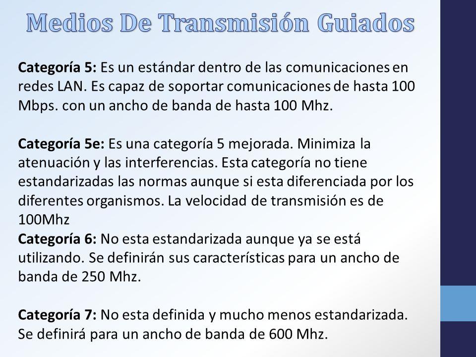 Categoría 5: Es un estándar dentro de las comunicaciones en redes LAN.