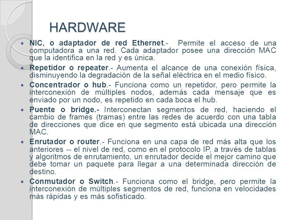HARDWARE USADO POR ETHERNET HARDWARE USADO POR ETHERNET Los elementos de una red Ethernet son, tarjeta de red, repetidores, concentradores, puentes, l
