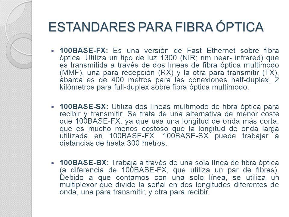 ESTANDARES PARA COBRE 100BASE-TX.- El estándar más común dentro de este tipo de Ethernet es 100BaseTX, y es soportado por la mayoría del hardware Ethe