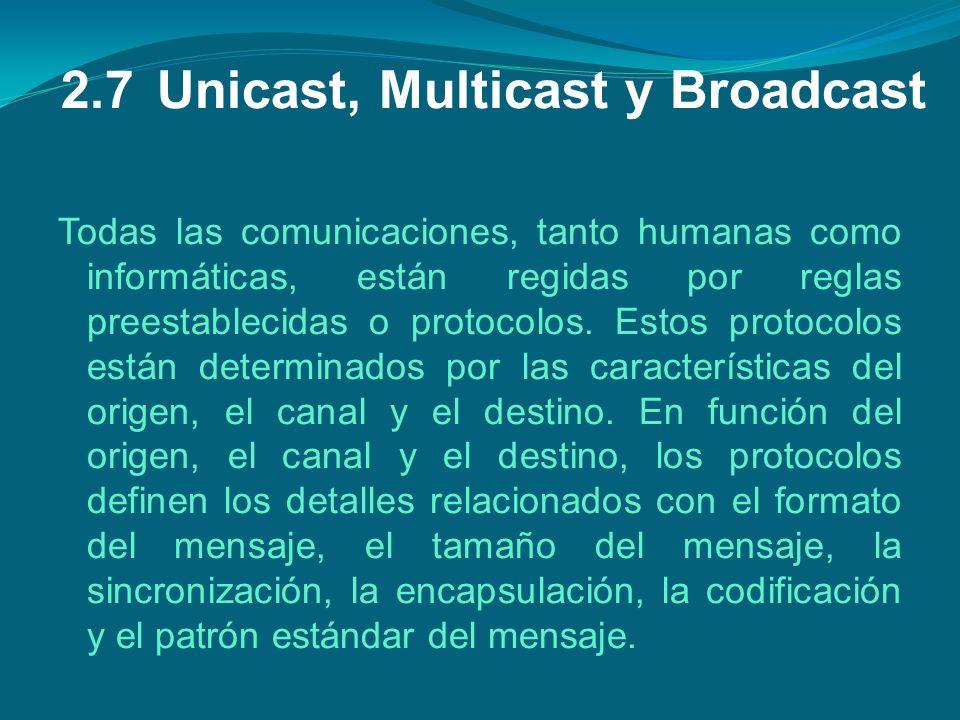 2.7Unicast, Multicast y Broadcast Todas las comunicaciones, tanto humanas como informáticas, están regidas por reglas preestablecidas o protocolos. Es