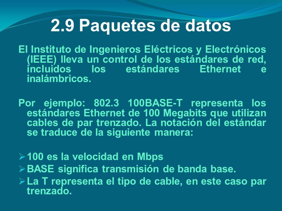 2.9Paquetes de datos El Instituto de Ingenieros Eléctricos y Electrónicos (IEEE) lleva un control de los estándares de red, incluidos los estándares E