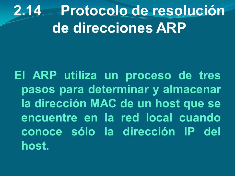 2.14Protocolo de resolución de direcciones ARP El ARP utiliza un proceso de tres pasos para determinar y almacenar la dirección MAC de un host que se