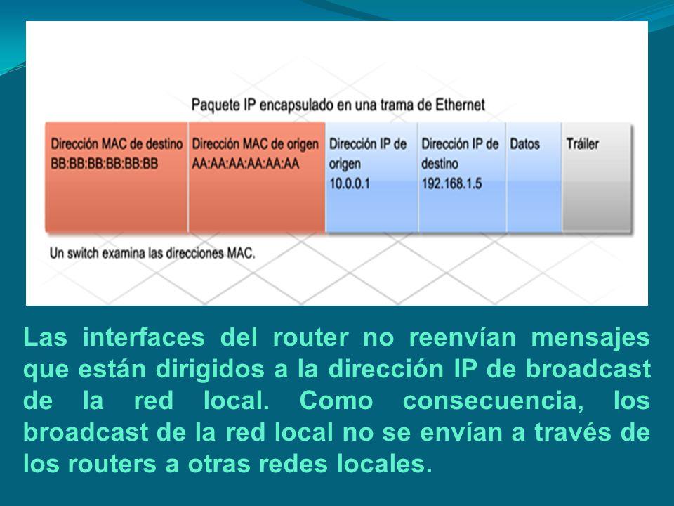 Las interfaces del router no reenvían mensajes que están dirigidos a la dirección IP de broadcast de la red local. Como consecuencia, los broadcast de