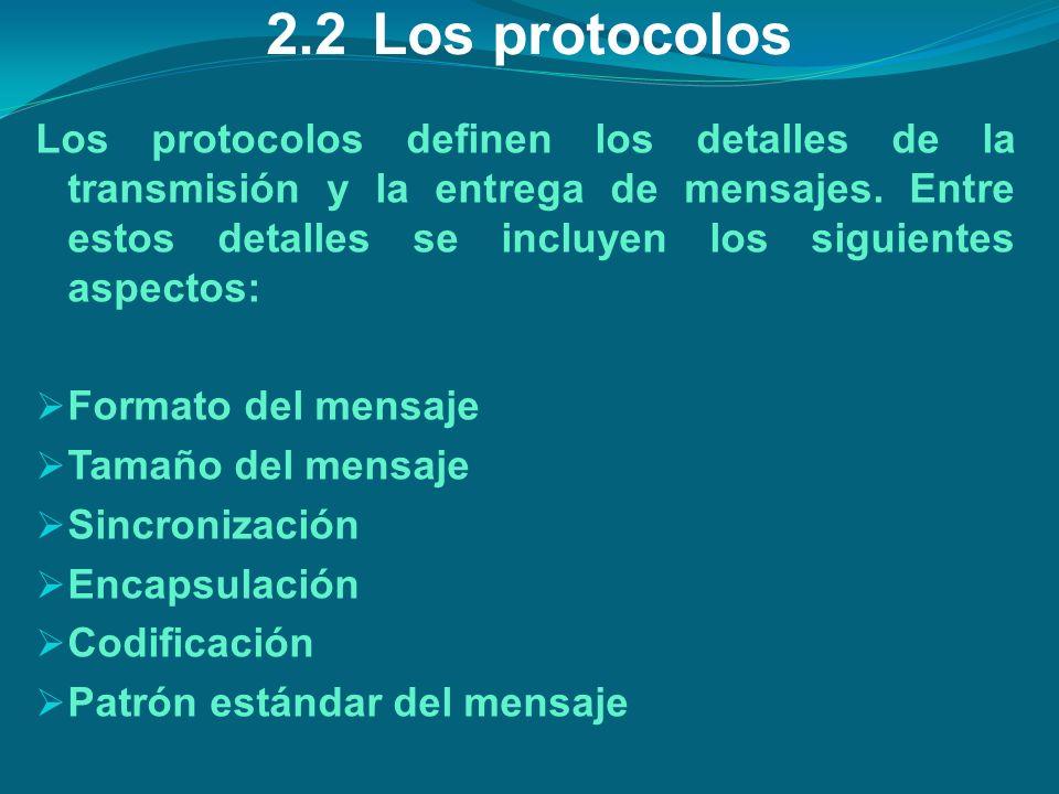2.2Los protocolos Los protocolos definen los detalles de la transmisión y la entrega de mensajes. Entre estos detalles se incluyen los siguientes aspe