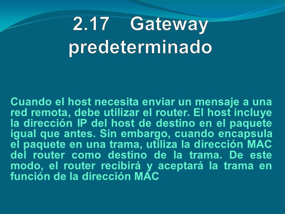 Cuando el host necesita enviar un mensaje a una red remota, debe utilizar el router. El host incluye la dirección IP del host de destino en el paquete