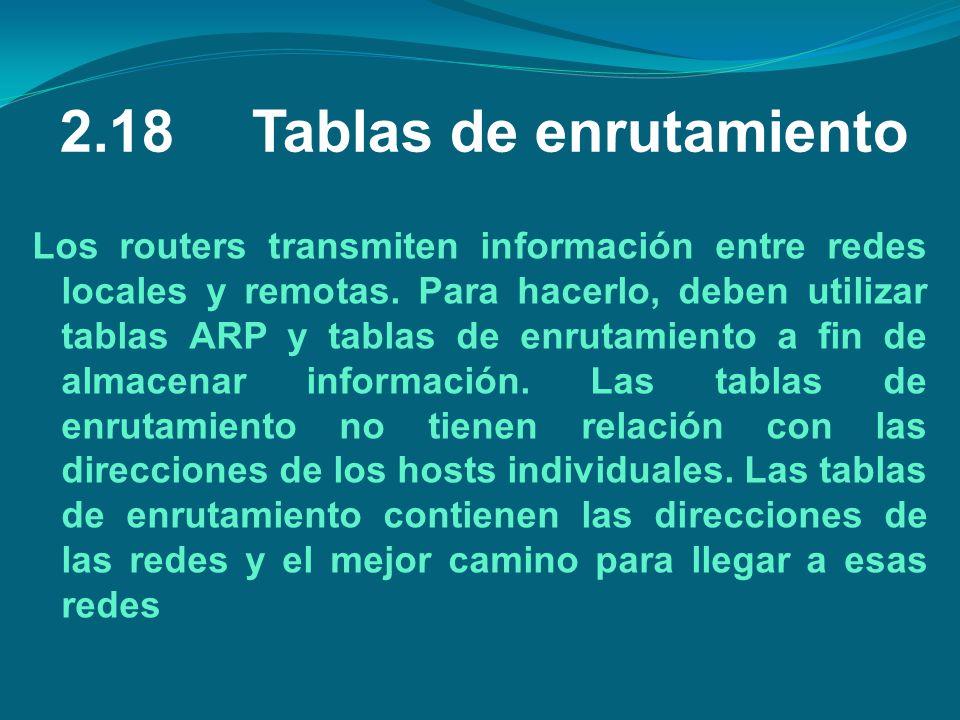 2.18Tablas de enrutamiento Los routers transmiten información entre redes locales y remotas. Para hacerlo, deben utilizar tablas ARP y tablas de enrut