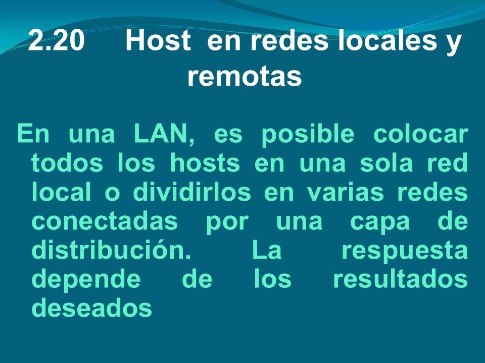 2.20Host en redes locales y remotas En una LAN, es posible colocar todos los hosts en una sola red local o dividirlos en varias redes conectadas por u