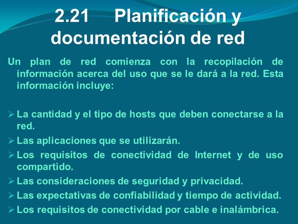 2.21Planificación y documentación de red Un plan de red comienza con la recopilación de información acerca del uso que se le dará a la red. Esta infor