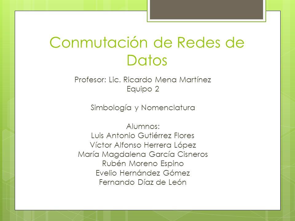 Conmutación de Redes de Datos Profesor: Lic. Ricardo Mena Martínez Equipo 2 Simbología y Nomenclatura Alumnos: Luis Antonio Gutiérrez Flores Víctor Al
