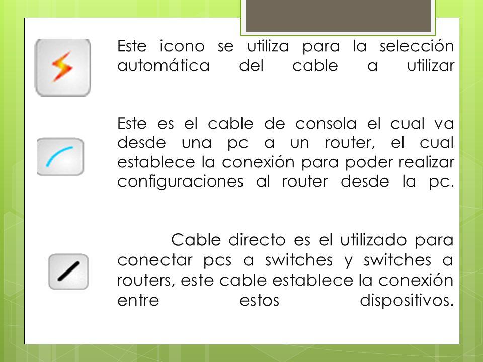 Este icono se utiliza para la selección automática del cable a utilizar Este es el cable de consola el cual va desde una pc a un router, el cual estab