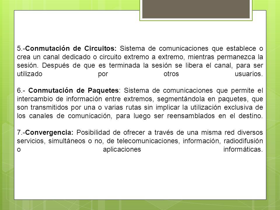 5.-Conmutación de Circuitos: Sistema de comunicaciones que establece o crea un canal dedicado o circuito extremo a extremo, mientras permanezca la ses