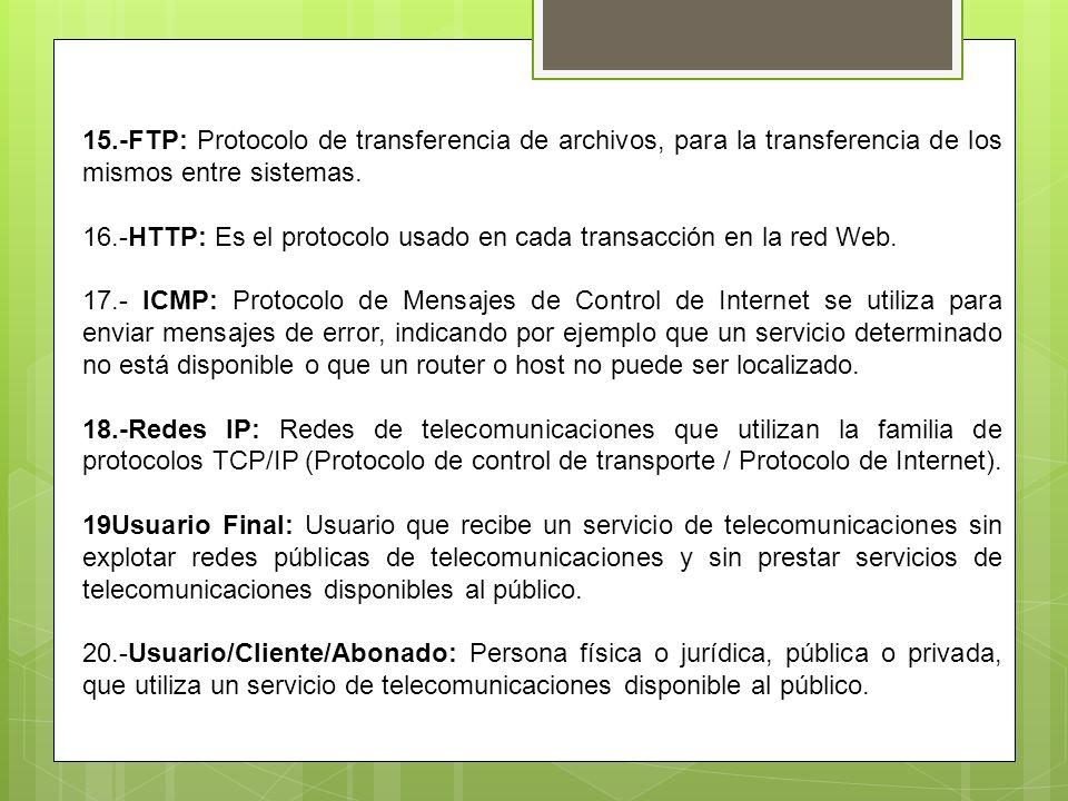 15.-FTP: Protocolo de transferencia de archivos, para la transferencia de los mismos entre sistemas. 16.-HTTP: Es el protocolo usado en cada transacci