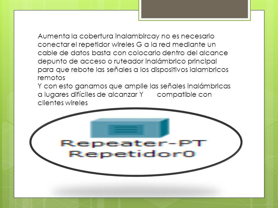 Aumenta la cobertura inalambircay no es necesario conectar el repetidor wireles G a la red mediante un cable de datos basta con colocarlo dentro del a