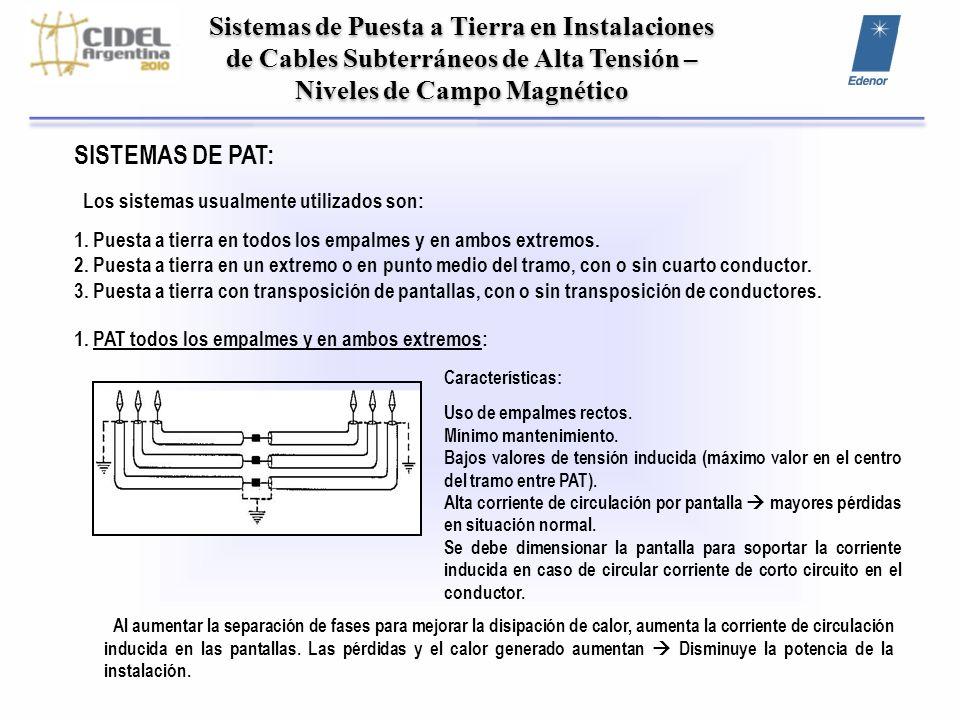 Sistemas de Puesta a Tierra en Instalaciones de Cables Subterráneos de Alta Tensión – Niveles de Campo Magnético SISTEMAS DE PAT: Los sistemas usualme