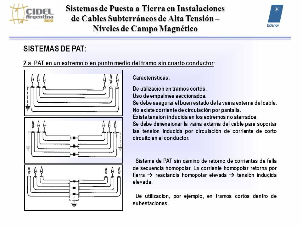 Sistemas de Puesta a Tierra en Instalaciones de Cables Subterráneos de Alta Tensión – Niveles de Campo Magnético SISTEMAS DE PAT: 2.a. PAT en un extre
