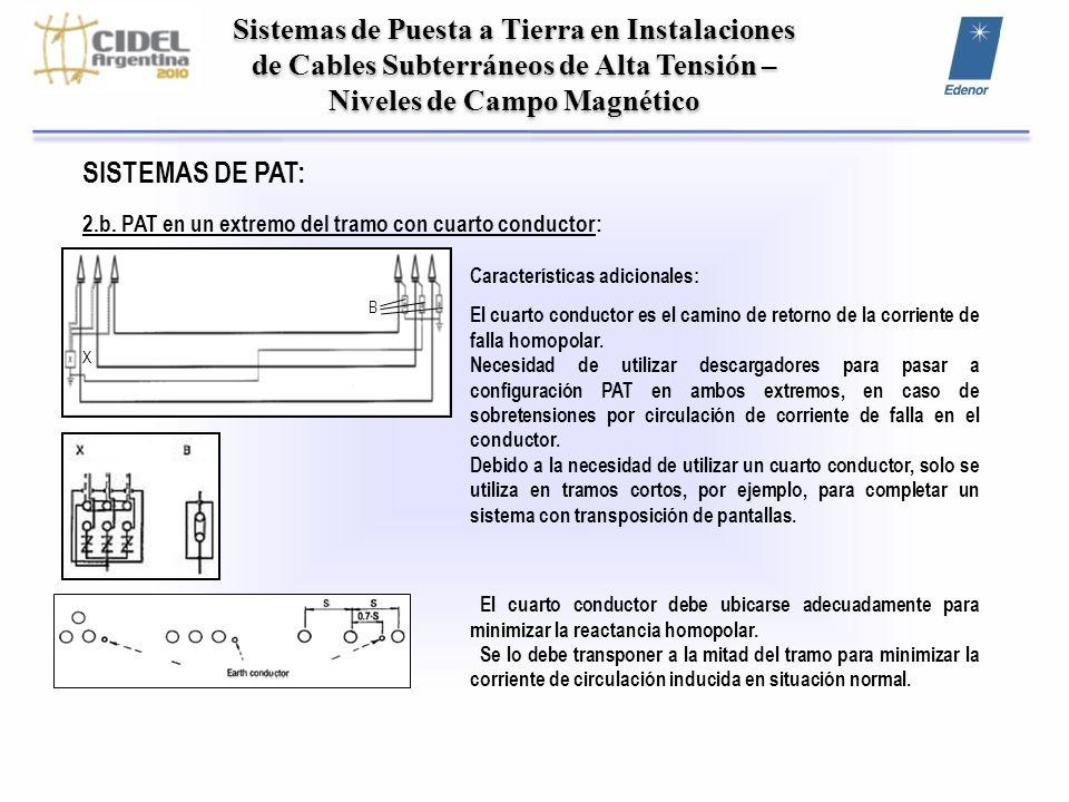 Sistemas de Puesta a Tierra en Instalaciones de Cables Subterráneos de Alta Tensión – Niveles de Campo Magnético SISTEMAS DE PAT: 2.b. PAT en un extre