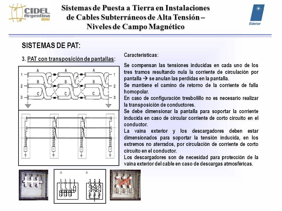 Sistemas de Puesta a Tierra en Instalaciones de Cables Subterráneos de Alta Tensión – Niveles de Campo Magnético NIVELES DE CAMPO MAGNETICO: Simple terna 132 kV: CS XLPE – Cu 500 mm² Potencia: 150 MVA 656 A Profundidad: 1.30 m Separación e/fases: 170 mm Campo magnético: 3.8 microtesla Simple terna 220 kV: CS XLPE –Cu 800 mm² Potencia: 300 MVA 788 A Profundidad: 1.50 m Separación e/fases: 240 mm Campo magnético: 17.8 microtesla Simple terna 220 kV: CS XLPE –Al 1200 mm² Potencia: 300 MVA Profundidad: 1.50 m Separación e/fases: 200 mm Campo magnético: 5.1 microtesla Campo magnético máximo admitido: 25 microtesla (Res SE 77/98) Mayor separación de fases Mayor campo magnético