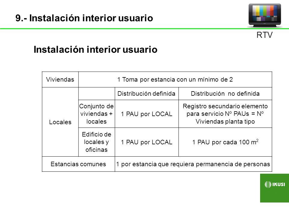 Viviendas1 Toma por estancia con un mínimo de 2 Locales Distribución definidaDistribución no definida Conjunto de viviendas + locales 1 PAU por LOCAL