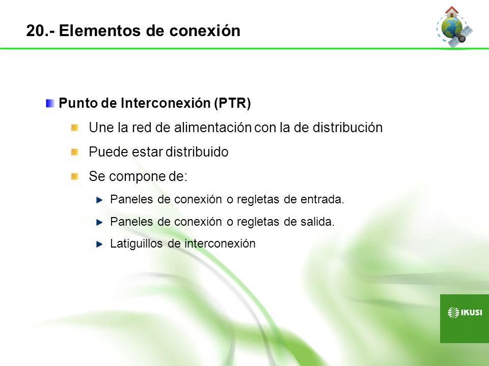 Punto de Interconexión (PTR) Une la red de alimentación con la de distribución Puede estar distribuido Se compone de: Paneles de conexión o regletas d