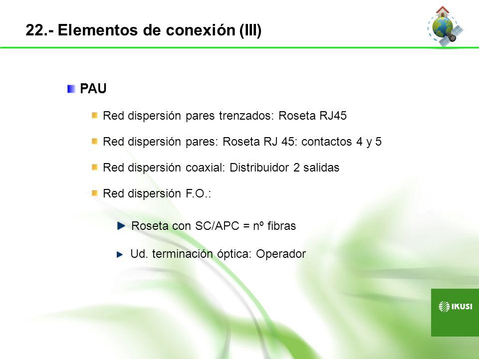 22.- Elementos de conexión (III) PAU Red dispersión pares trenzados: Roseta RJ45 Red dispersión pares: Roseta RJ 45: contactos 4 y 5 Red dispersión co