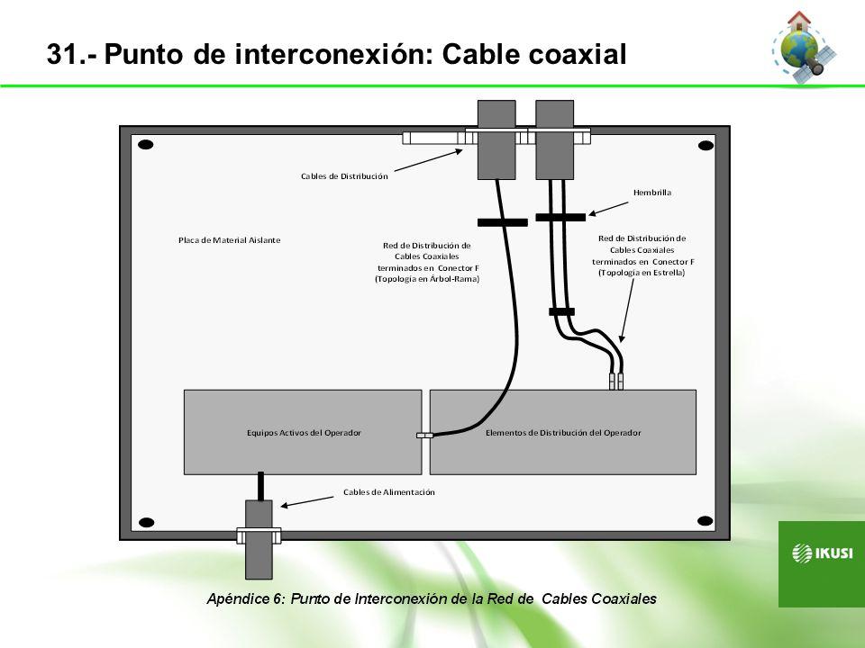31.- Punto de interconexión: Cable coaxial