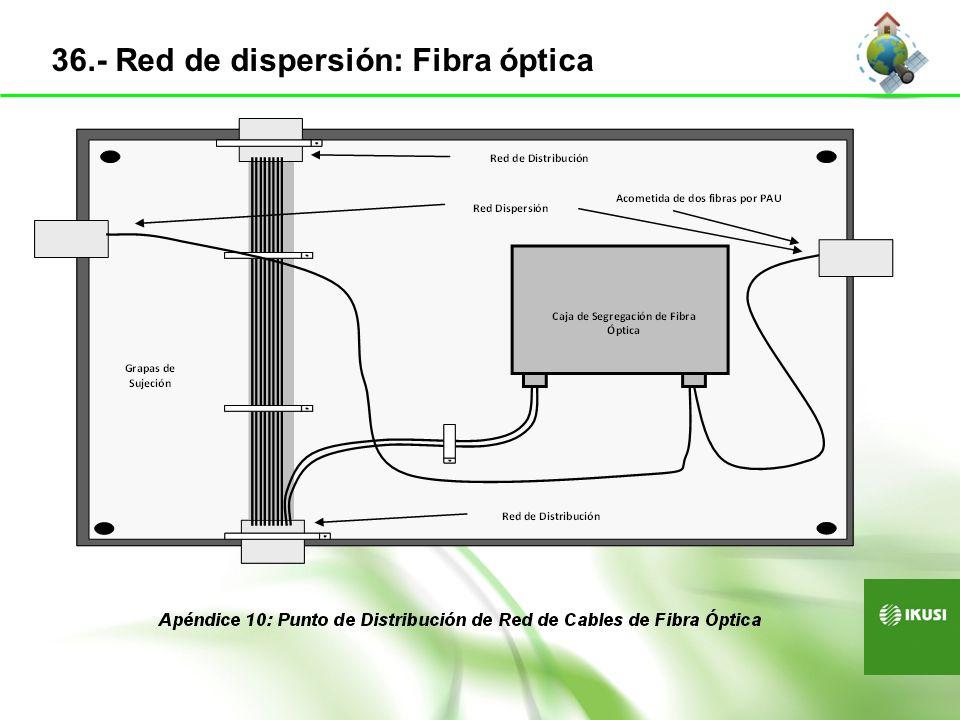 Siempre punto a punto Caja de segregación en registro secundario Estrella desde el RITI Se almacenan los bucles y fibras sobrantes 37.- Red de distribución: Fibra óptica