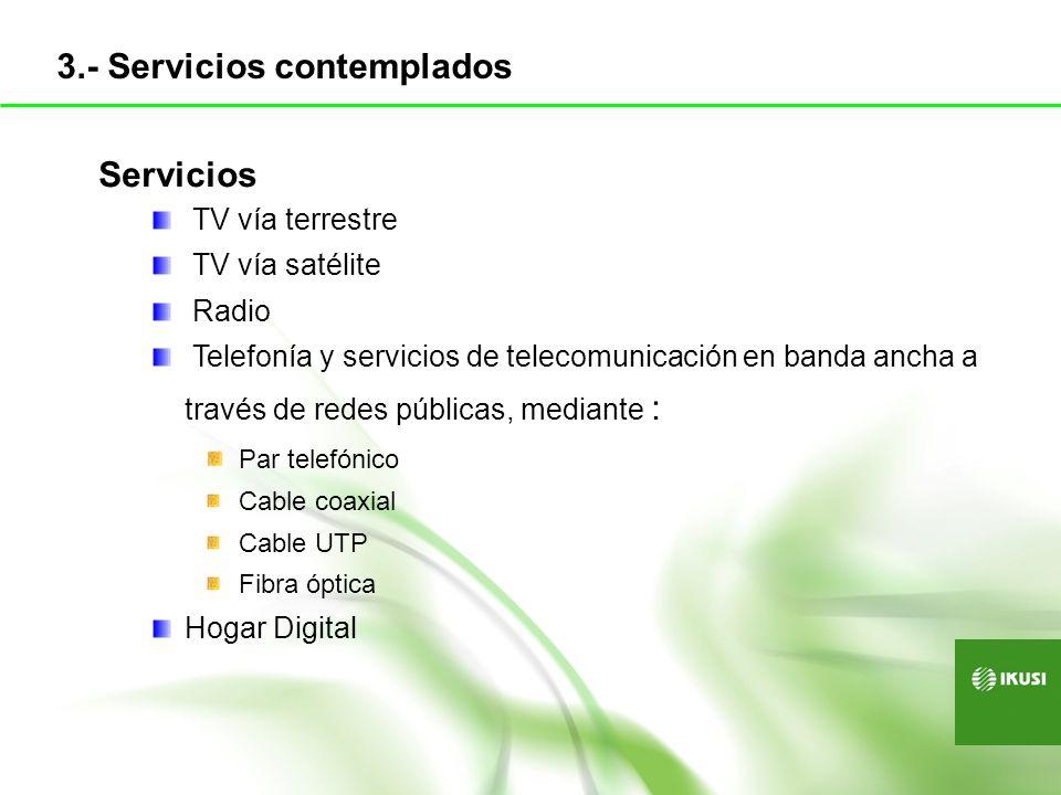 Servicios TV vía terrestre TV vía satélite Radio Telefonía y servicios de telecomunicación en banda ancha a través de redes públicas, mediante : Par t