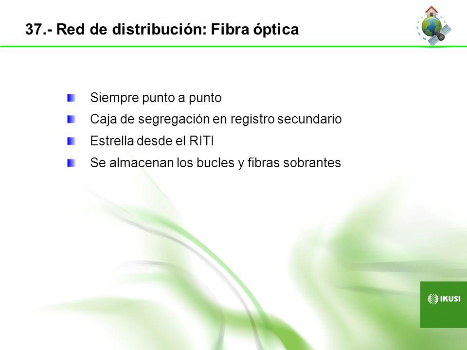 Siempre punto a punto Caja de segregación en registro secundario Estrella desde el RITI Se almacenan los bucles y fibras sobrantes 37.- Red de distrib