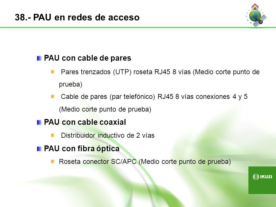 PAU con cable de pares Pares trenzados (UTP) roseta RJ45 8 vías (Medio corte punto de prueba) Cable de pares (par telefónico) RJ45 8 vías conexiones 4