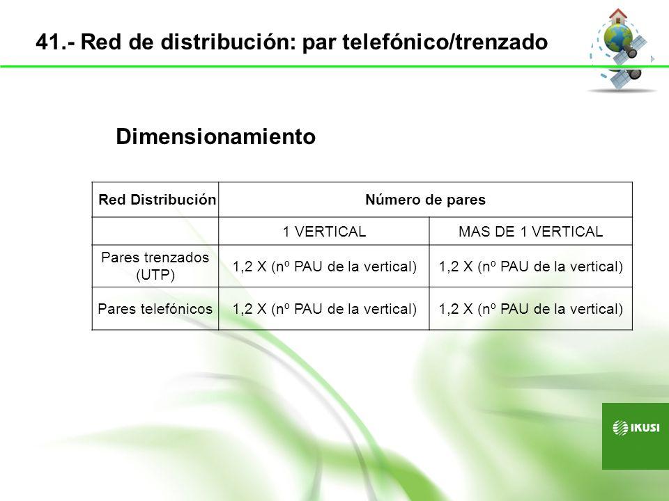 Configuración de las mangueras N.º pares (N)N.º cablesTipo de cable 25 < N 50150 pares [1(50p)] 50 < N 75175 pares [1(75p)] 75 < N 1001100 pares [1(100p)] 100 < N 12521(100p)+1(25p) o 1(75p)+1(50p) 125 < N 15021(100p)+1(50p) o 2(75p) 150 < N 17521(100p)+1(75p) 175 < N 20022(100p) 200 < N 22532(100p)+1(25p) o 3(75p) 225 < N 25032(100p)+1(50p) o 1(100p)+2(75p) 250 < N 27532(100p)+1(75p) 275 < N 30033(100p) Si se usan cables multipares ver tabla 42.- Red de distribución de pares telefónicos