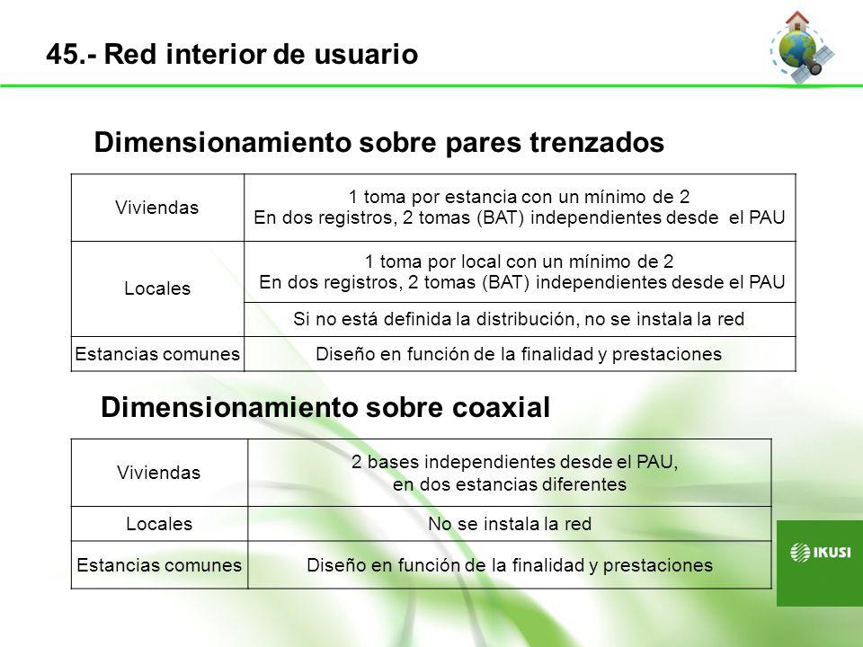 PAU RTV DISTRIBUIDOR Red RTV ROSETA PARES/PARES TRENZADOS MULTIPLEXOR PASIVO CONEXIONES A CABLES TRENZADOS SWITCH EQUIPO OPERADORES Conversor Fibra ethernet ROSETA FIBRA Red Pares/Pares Trenzados Red Fibra óptica DISTRIBUIDOR Red coaxial RED INTERIOR VIVIENDA 46.- Esquema del PAU