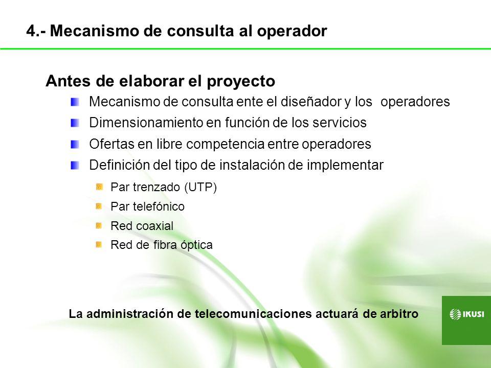 Antes de elaborar el proyecto Mecanismo de consulta ente el diseñador y los operadores Dimensionamiento en función de los servicios Ofertas en libre c