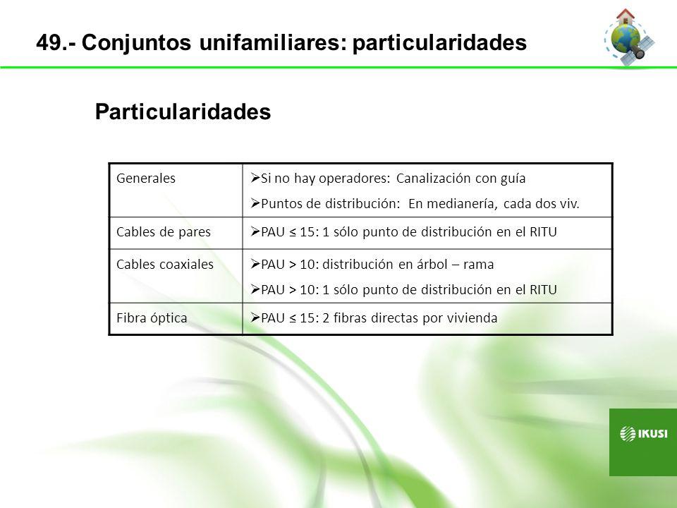 Pares trenzados (UTP): CAT6 o superior UNE-EN 50288-6-1 Cable de pares multipares (Telefonía) ICT+100 UNE 212001 Cable de pares dispersión e interior Cubierta no propagadora de la llama Libre de halógenos Baja emisión de humos Cables coaxiales RG-6, RG-11, RG-59 UNE-EN 50117-2-1 50.- Requerimientos de los cables
