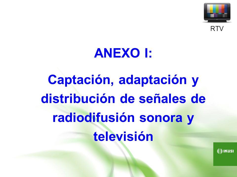 ANEXO I: Captación, adaptación y distribución de señales de radiodifusión sonora y televisión RTV