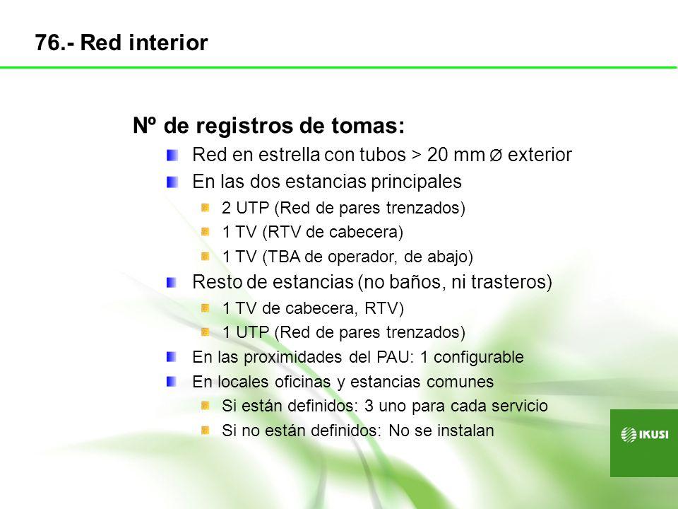 Nº de registros de tomas: Red en estrella con tubos > 20 mm Ø exterior En las dos estancias principales 2 UTP (Red de pares trenzados) 1 TV (RTV de ca