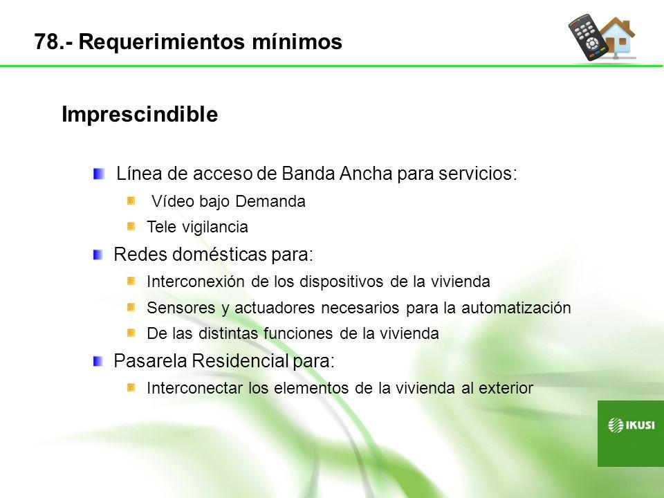 Línea de acceso de Banda Ancha para servicios: Vídeo bajo Demanda Tele vigilancia Redes domésticas para: Interconexión de los dispositivos de la vivie