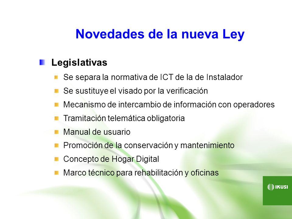 Novedades de la nueva Ley Legislativas Se separa la normativa de ICT de la de Instalador Se sustituye el visado por la verificación Mecanismo de inter