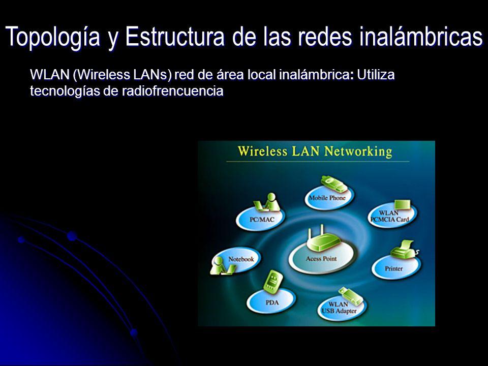 WLAN (Wireless LANs) red de área local inalámbrica: Utiliza tecnologías de radiofrencuencia Topología y Estructura de las redes inalámbricas