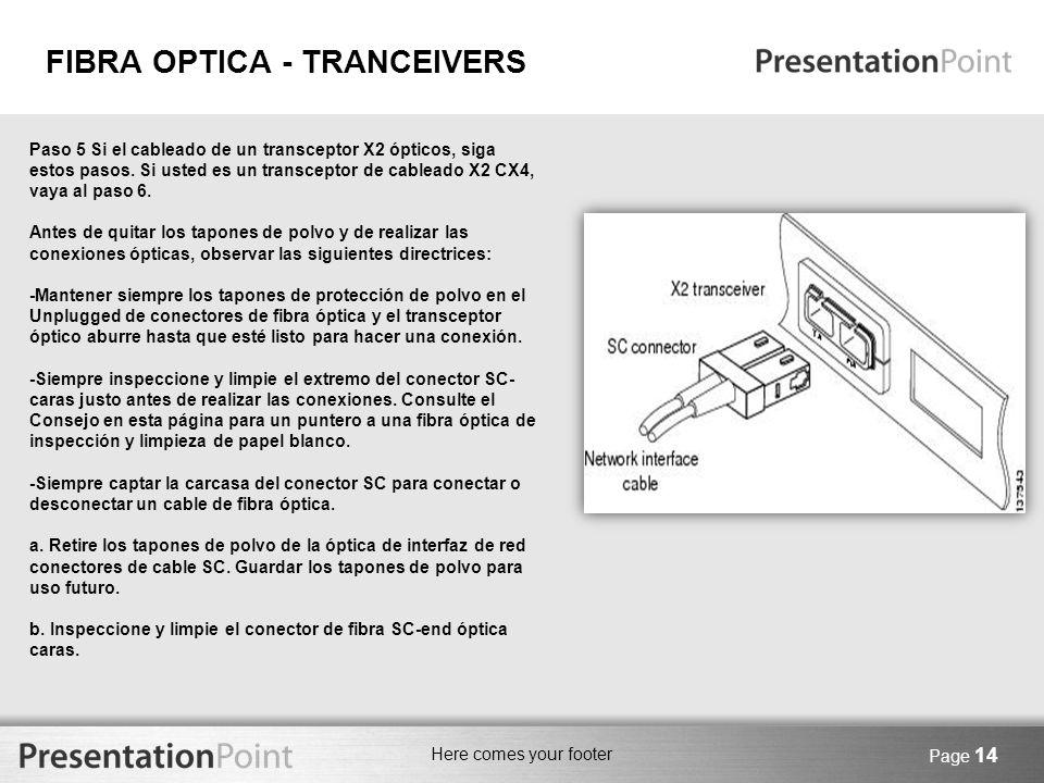 Here comes your footer Page 14 Paso 5 Si el cableado de un transceptor X2 ópticos, siga estos pasos. Si usted es un transceptor de cableado X2 CX4, va