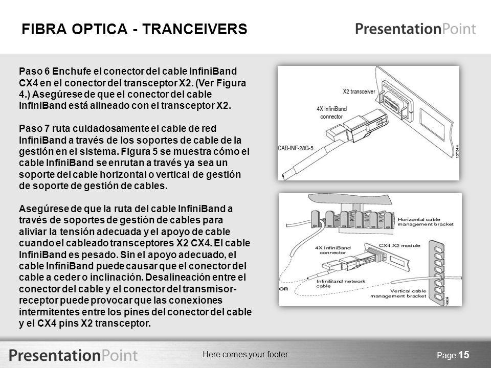 Here comes your footer Page 15 Paso 6 Enchufe el conector del cable InfiniBand CX4 en el conector del transceptor X2. (Ver Figura 4.) Asegúrese de que