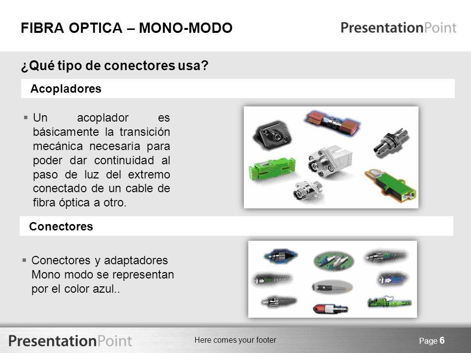 Here comes your footer Page 6 Acopladores ¿Qué tipo de conectores usa? Un acoplador es básicamente la transición mecánica necesaria para poder dar con